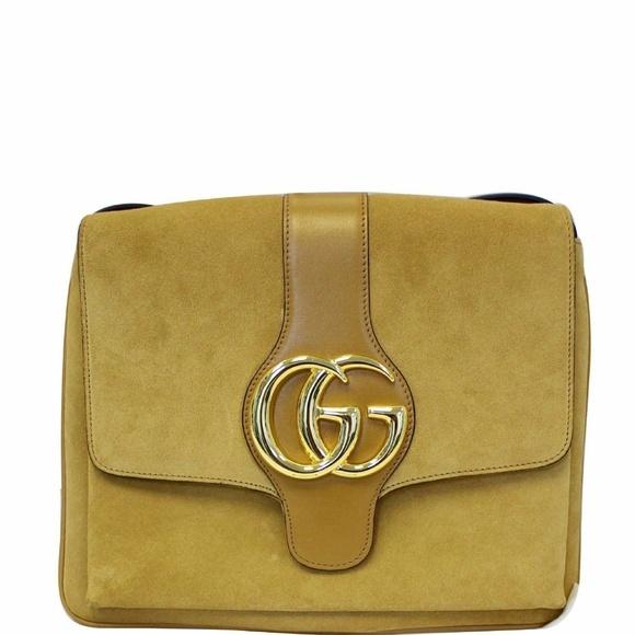 Gucci Handbags - GUCCI Arli Medium Suede Leather Crossbody Bag